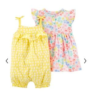 New with tags Carter's 3 piece flower dress/romper combo